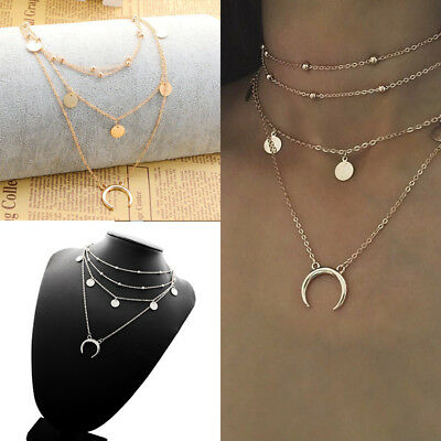 Women's Choker Necklace Gold Silver Pendant Moon Bead Chain Ling Multi-Layer