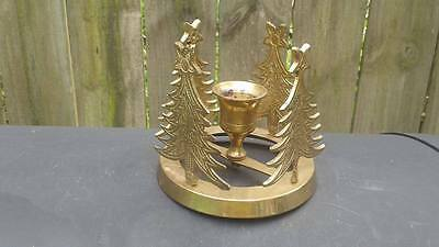 """Vintage Brass Taper Candle Holder 4 Pine Trees """"India"""""""