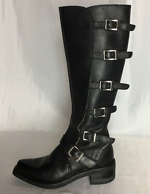 Womens Harley Davidson Leather 6 Buckle Biker Boots Made in Italy size 7.5