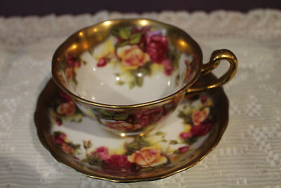 Beautiful Royal Chelsea Golden Rose Tea Cup And Saucer - Heavy Gold Border