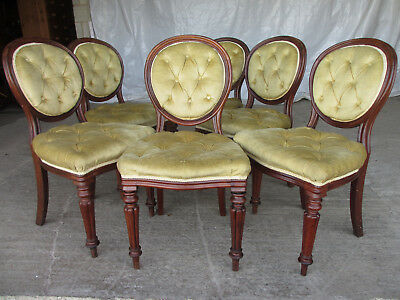 6 x Victorian Mahogany Balloon Back Dining Chairs Button Upholstered  (510)
