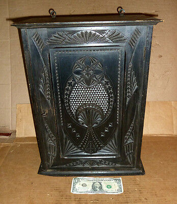 Vintage Wood,Ornate Design,Lock & Key,Hanging Cabinet,Cupboard,Case,Curio,or--