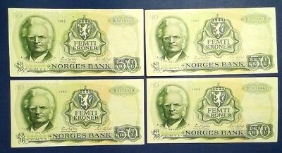 NORWAY: 8 x 50 Kroner Banknotes (1983) - Extremely Fine Condition