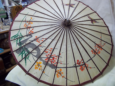 Vintage Handpainted Japanese Umbrella Parasol Rice Paper And Bamboo