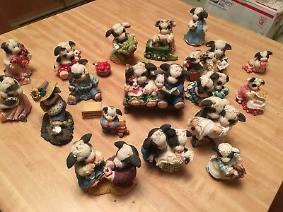 mary moo moos 19 figurines  collection  lot Enesco corporation