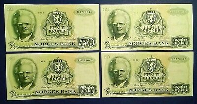 NORWAY: 7 x 50 Kroner Banknotes (1983) - Extremely Fine Condition & Consecutive
