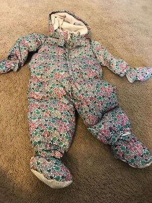 BABY GAP FLORAL GIRL 18-24 Mon BABY BUNTING SNOW SUIT DOWN NEW FLEECE LINING NWT