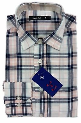 Men's Classic Retro Long Sleeve Vintage Style Cotton Check Mod Shirt Small Pink