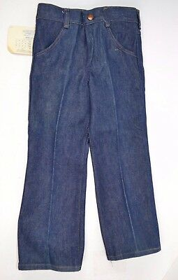 Vtg 70s Maverick 14 oz Sanfor-Set Heavyweight Denim Boys WESTERN BLUE JEANS sz 6