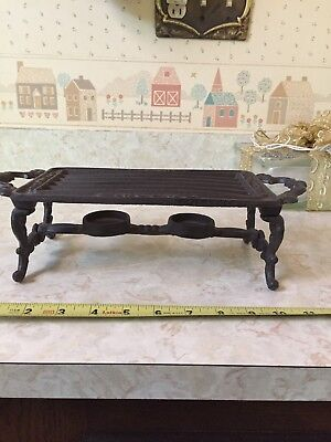 Cast Iron Tea Candle Warmer Trivet for Dish Rectangle Vintage look