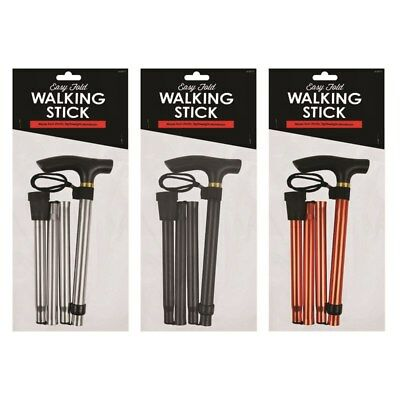 Lightweight Folding Walking Stick Cane Comfort Grip Handle Walking Hiking Aid