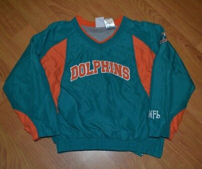 Miami Dolphins Sewn NFL Lined Pullover Windbreaker 6-7 Nice Pockets