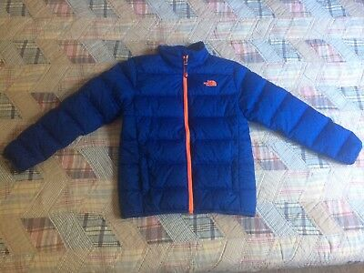 The North Face Down Jacket Blue Orange Large Boys Puffer 550 Fill Warm Winter