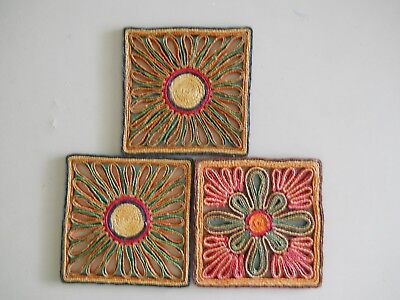 3 Vintage Straw Woven Hot Pad/Trivets All Square