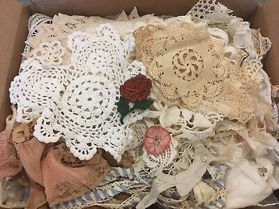 Box of antique lace embroidered fabric trim vintage victorian lot cutter scrap
