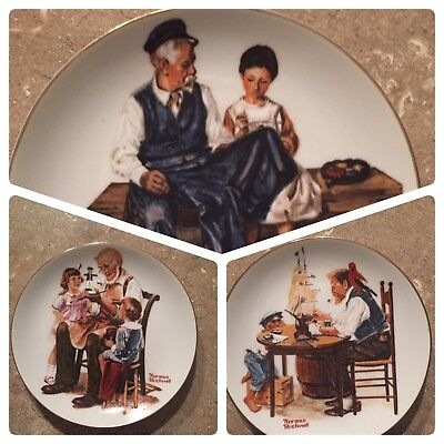 Norman Rockwell 3 Limited Edition 1982 Collector Plates Great Condition