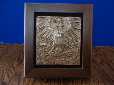 Vintage Front Brass Plate Of Cutler Mail Chute Mounted In A Walnut Wood Frame