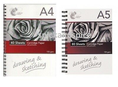 135gsm Sketch Book Drawing Pad White Cartridge Paper A4 / A5  Art Spiral Note