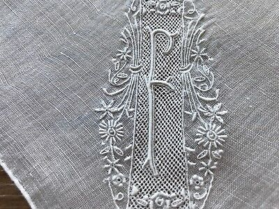 A+ Madeira Style Vintage White Hankie Hand Embroidered Monogram F Wedding Bride