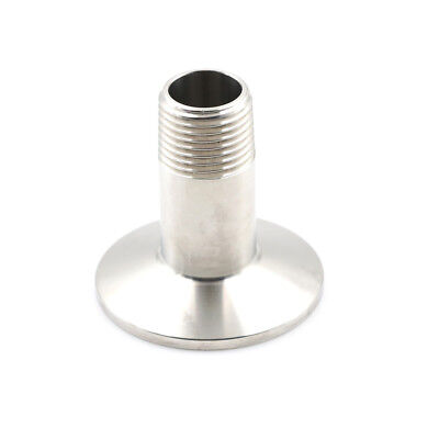 "1/2"" Sanitary Male Threaded NPT Ferrule Pipe Fitting to 1.5"" Tri Clamp SS304 HL"