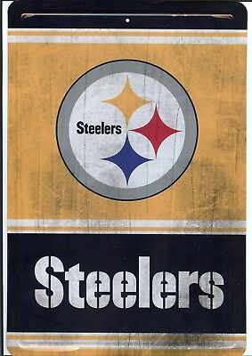 "Pittsburgh Steelers Vintage Wood Style Metal 8"" X 12"" Sign Nfl New Man Fan Cave"