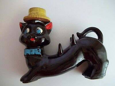 Vintage Ceramic Black Cat Decanter Sway Back That Holds Aperitif Cups (No Cups)