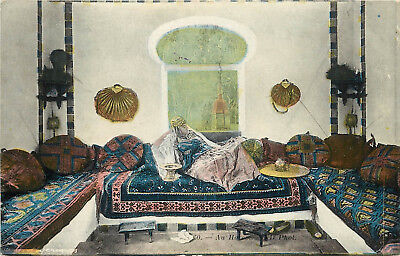 c1910 Postcard Exotic Beautiful Woman On Couch Arab Harem