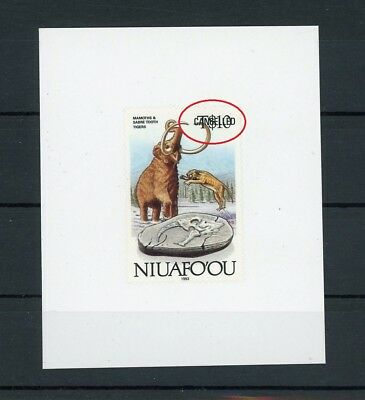 NIUAFOOU CANCELLED !! TRIAL TEST STAMP MAMMUT TIGER PALEONTOLOGY RARE! m1037