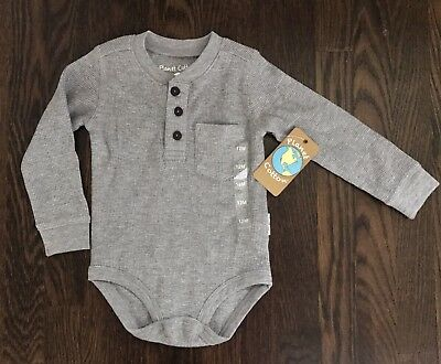 Unisex Planet Cotton gray long sleeve thermal one piece size 12 months