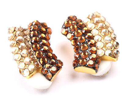 Vintage 1970s Brown, Cream and Clear Rhinestone, Clip on Earrings