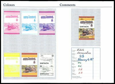 ST. LUCIA EISENBAHN 1985 PHASENDRUCKE RAILWAY TRAIN PROOFS IMPERF RARE!! z2203