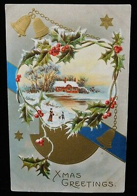 Antique Bells Holly and House Scene XMAS GREETINGS Collectible POSTCARD (TH872)