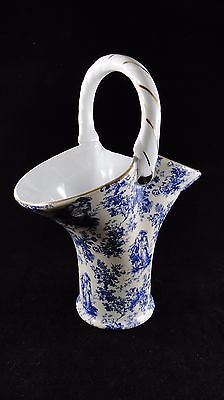 """Formalities PORCELAIN Colonial Couple Blue 9-1/2"""" BASKET Vase by Baum Brothers"""