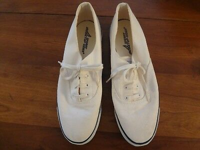 Vintage Sperry Top Sider sneakers deck shoes Men's white canvas white 10.5 M