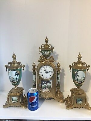 Vintage Serves Porcelain Clock Set By Hermle