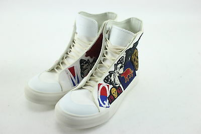 NWT $950 Alexander McQueen White Canvas Patchwork Embroidered Hightop Sneakers 9