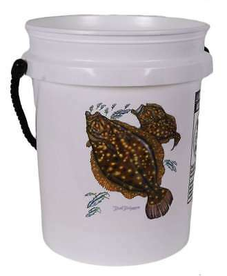 TackleDirect Bucket Pail  5 Gallon Bucket White w/Black Rope Handle