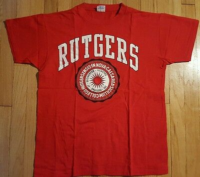 80s vintage RUTGERS shirt L red university college Scarlet Knights NJ New Jersey