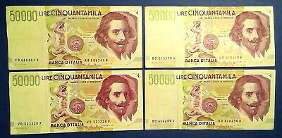 ITALY: 4 x 50,000 Lira Banknotes Very Fine Condition