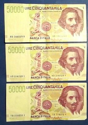 ITALY: 3 x 50,000 Lira Banknotes Extremely Fine Condition