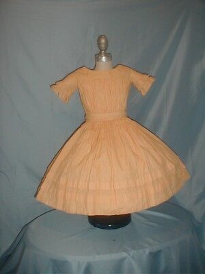 Antique Child's Dress 1860 Yellow Gingham Check  Dress