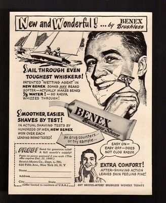 """1949 Vintage Print Ad """"  Sail Through Even the Toughest Whiskers""""  Benex Shave"""
