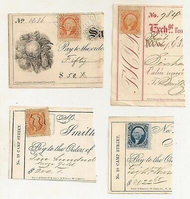 Us Internal Revenue Tax Stamps, Post Civil War Era, Attached Partial Checks #1.