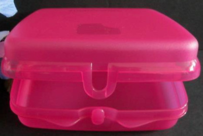 Tupperware Sandwich Keeper Fuchsia Pink Hinged Lid Great for Crayons & Toys New