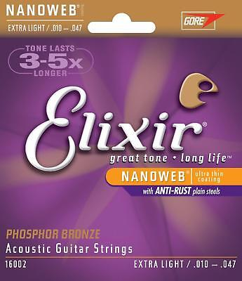 Elixir 16002 Extra Light Phosphor Bronze 10-47 Acoustic Guitar Strings - 3 Packs