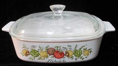 Corning Ware Casserole Dish 1 Quart w/ Glass Lid Cover L Echalote Vegetables