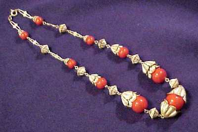 Antique Unusual Art Deco Lipstick Red Glass & Silver Leaf Necklace Germany