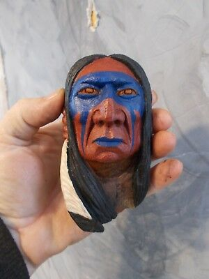 Mini Wood Carving, Wood Spirit, Native American Indian Warrior #1