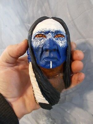 Mini Wood Carving, Wood Spirit, Native American Indian Warrior #2