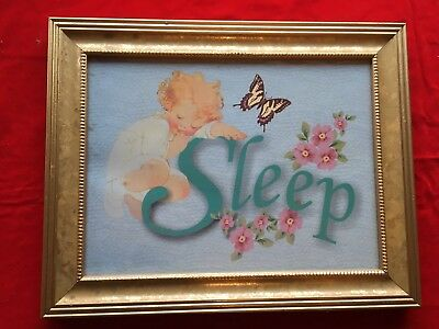 Nursery Baby Framed Wall Picture Print Sleep Child Butterflies Roses Shabby